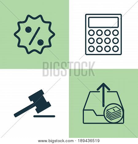 Ecommerce Icons Set. Collection Of Calculator, Gavel, Rebate Sign And Other Elements. Also Includes Symbols Such As Calculator, Upload, Paid.