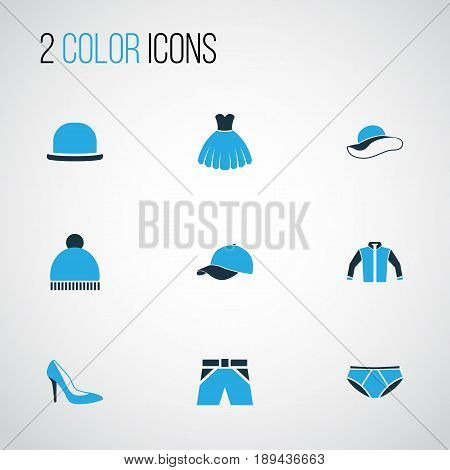 Garment Colorful Icons Set. Collection Of Heels, Beanie, Shorts And Other Elements. Also Includes Symbols Such As Heels, Windbreaker, Pompom.