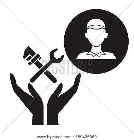 black silhouette plumber in circular frame with hands holding floatin wrench crossed vector illustration