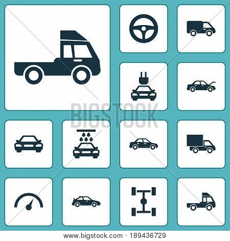 Car Icons Set. Collection Of Plug, Chronometer, Drive Control And Other Elements. Also Includes Symbols Such As Sedan, Electric, Car.