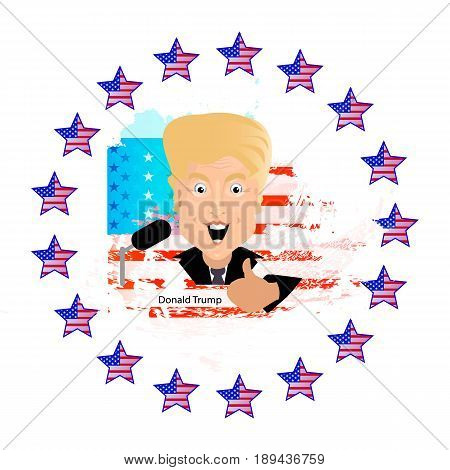 Donald Trump President of the United States and Independence Day Illustration for your design. President thumbs up against the background of the American flag in the circles of stars giving interviews