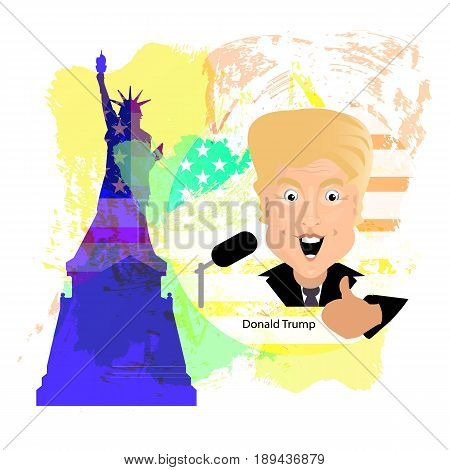 Donald Trump President of the United States and Independence Day. Illustration for your design. Vector. President thumbs up against American flag and statue of freedom