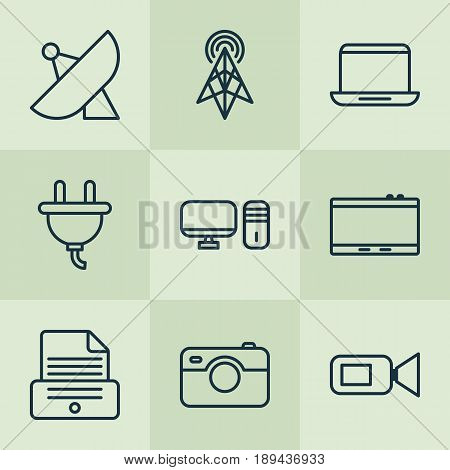 Hardware Icons Set. Collection Of Wireless Router, Video Camcorder, Socket And Other Elements. Also Includes Symbols Such As Socket, Gadget, Tablet.