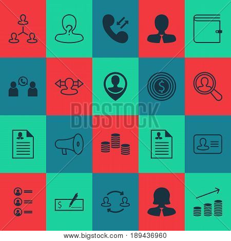 Resources Icons Set. Collection Of Business Woman, Curriculum Vitae, Bank Payment And Other Elements. Also Includes Symbols Such As Direction, Job, Partnership.