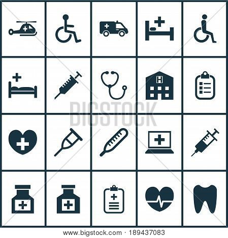 Drug Icons Set. Collection Of Tent, Database, Heal And Other Elements. Also Includes Symbols Such As Peck, Bed, Analyzes.