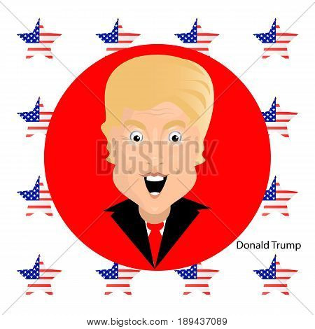 Donald Trump President of the United States and Independence Day. Illustration for your design. Vector. President on a background of a red circle with a star with the color of the American flag