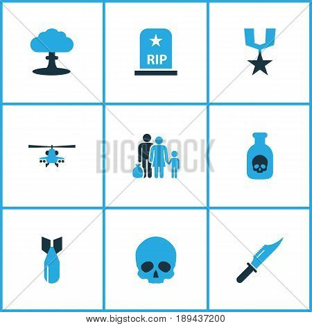 Warfare Colorful Icons Set. Collection Of Bomb, Grave, Poison And Other Elements. Also Includes Symbols Such As Dynamite, Rocket, Bomb.