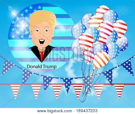 Donald Trump President of the United States and Independence Day. Illustration for your design. Vector. Celebratory flags of triangles and balloons against the background of a round flag.