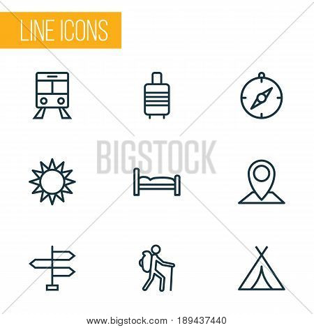 Exploration Outline Icons Set. Collection Of Bedstead, Tram, Map Pin And Other Elements. Also Includes Symbols Such As Navigate, Bedstead, Tent.