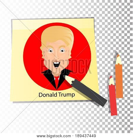 Donald Trump President of the United States and Independence Day. Illustration for your design. Vector. The sticker is yellow and sticky with pencils.