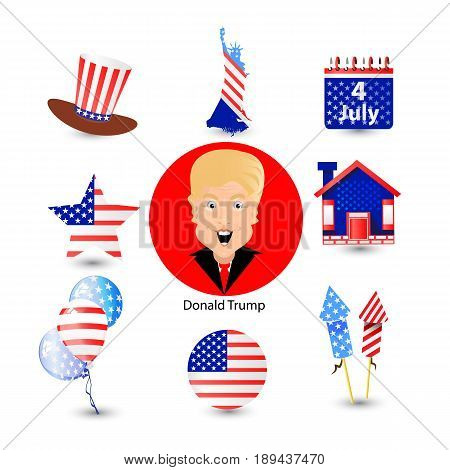 Donald Trump President of the United States and Independence Day. Illustration for your design. Vector. Independence Day attributes: hat, flag, fireworks and star