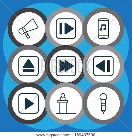 Audio Icons Set. Collection Of Following Song, Rostrum, Microphone And Other Elements. Also Includes Symbols Such As Back, Forward, Previous.