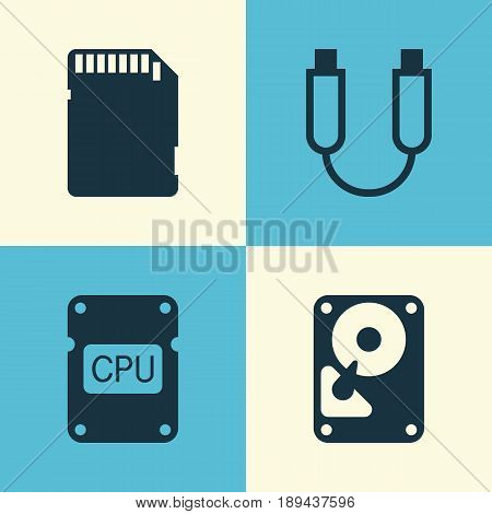 Hardware Icons Set. Collection Of Portable Memory, Memory Card, Cpu And Other Elements. Also Includes Symbols Such As Usb, Storage, Hdd.
