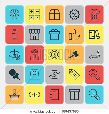 Ecommerce Icons Set. Collection Of Refund, Buck, Tote Bag And Other Elements. Also Includes Symbols Such As Compute, Shopping, Catalog.