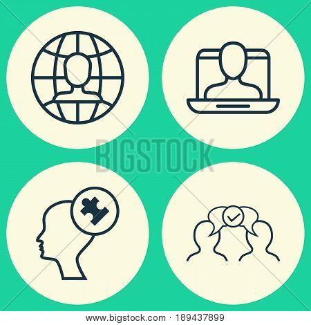 Business Icons Set. Collection Of Cooperation, Global Work, Human Mind And Other Elements. Also Includes Symbols Such As Vacancy, Solution, Global.