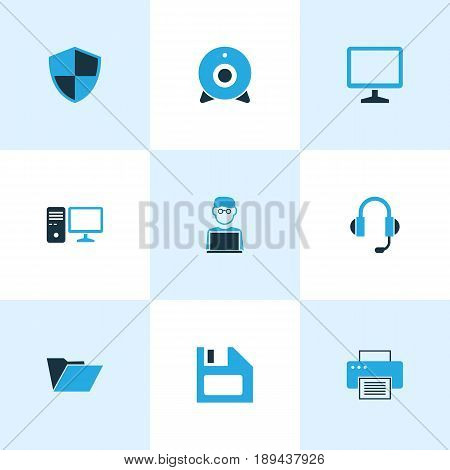 Hardware Colorful Icons Set. Collection Of File, Laptop, Earphones And Other Elements. Also Includes Symbols Such As Folder, Shield, Man.
