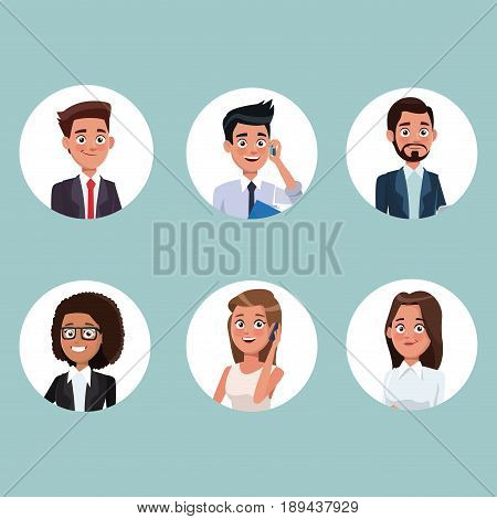 color background with circular frame icons set half body people characters for business vector illustration