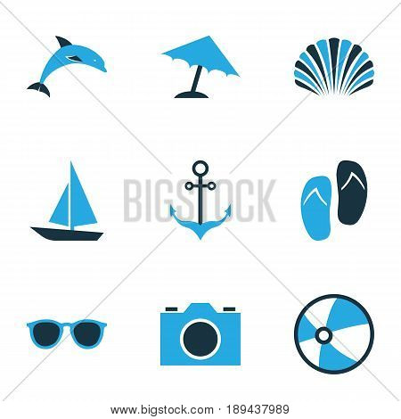 Hot Colorful Icons Set. Collection Of Boat, Camera, Sunglasses And Other Elements. Also Includes Symbols Such As Video, Sunglasses, Conch.