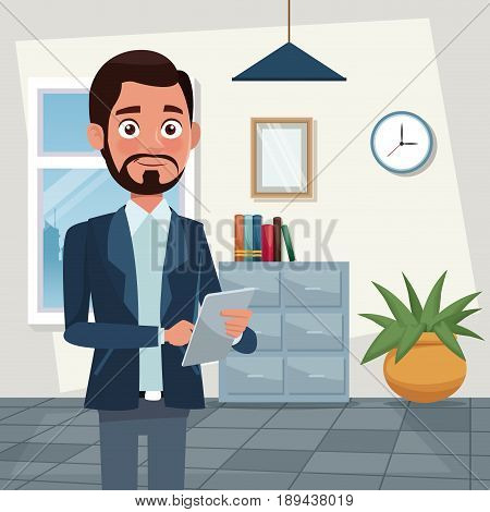 color background workplace office half body bearded man characters for business with tablet vector illustration
