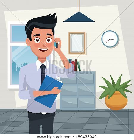 color background workplace office half body young man characters for business with folder and talk with cellphone vector illustration