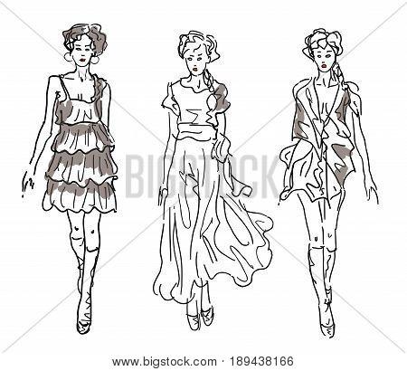 Sketch Fashion Women Models - vector illustration