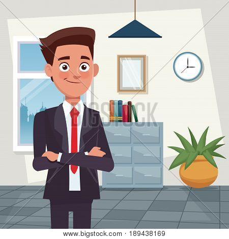 color background workplace office half body young man characters for business with formal suit vector illustration