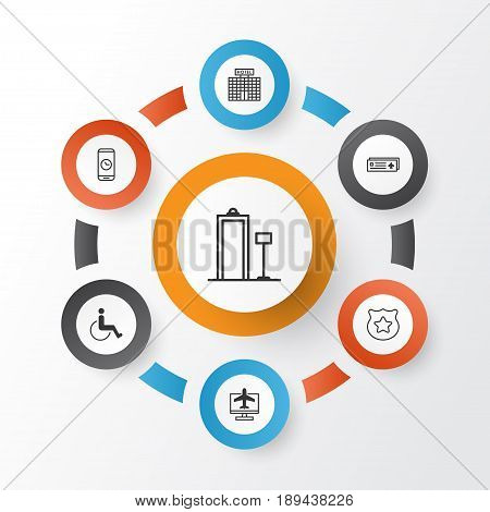Airport Icons Set. Collection Of Call Duration, Cop Symbol, Airport Card And Other Elements. Also Includes Symbols Such As Metal, Card, Disabled.