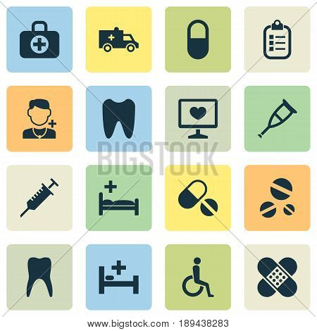 Medicine Icons Set. Collection Of Mark, Pills, Bandage Elements. Also Includes Symbols Such As Bag, Pill, Teeth.