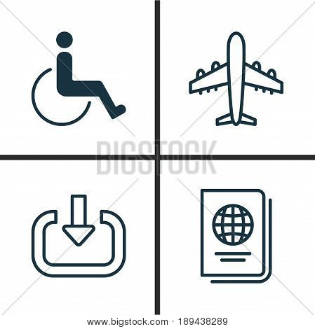 Transportation Icons Set. Collection Of Accessibility, Airliner, Enter And Other Elements. Also Includes Symbols Such As Enter, Aircraft, Register.