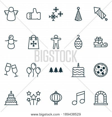 New Year Icons Set. Collection Of Mitten, Archangel, Pizza Meal And Other Elements. Also Includes Symbols Such As Shortcake, Music, Snowman.