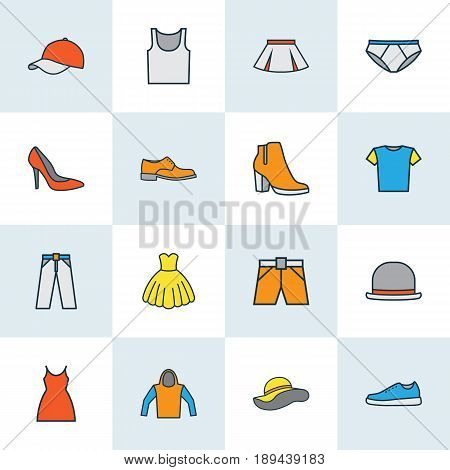 Dress Colorful Outline Icons Set. Collection Of Underwear, Shorts, Man Footwear And Other Elements. Also Includes Symbols Such As Blouse, Breeches, Singlet.