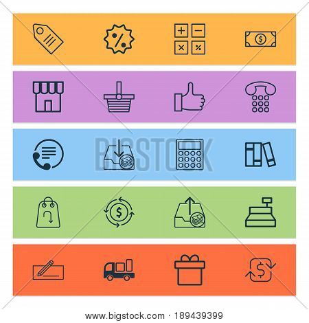 Commerce Icons Set. Collection Of Withdraw Money, Callcentre, Recommended And Other Elements. Also Includes Symbols Such As Bookshelf, Paid, Economy.