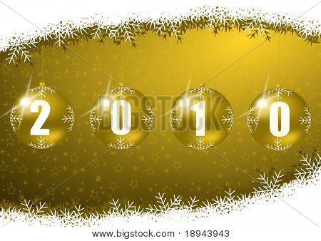new year 2010 illustration with glass ball and snowflakes poster
