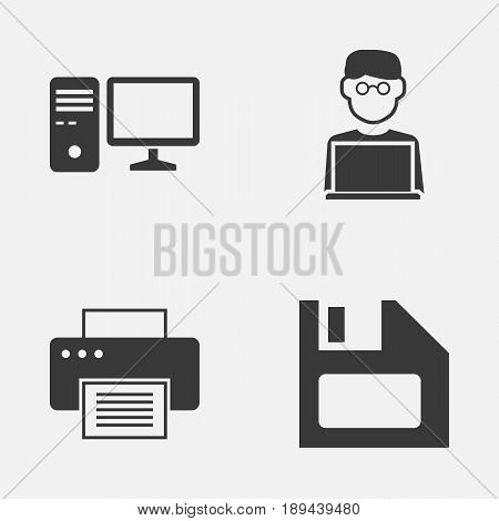 Digital Icons Set. Collection Of Printing Machine, Programmer, Diskette And Other Elements. Also Includes Symbols Such As PC, Disk, Programmer.