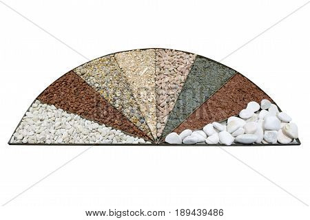 different kinds of stones and rubble for plant decoration isolated on white background