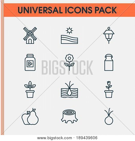 Gardening Icons Set. Collection Of Jug, Growing Plant, Jar And Other Elements. Also Includes Symbols Such As Lantern, Plant, Mill.
