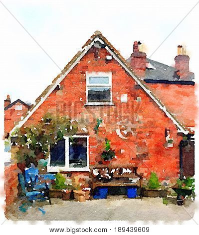 Digital watercolor painting of a quaint English cottage, house, with chairs a bench and plants in the front garden with space for text.