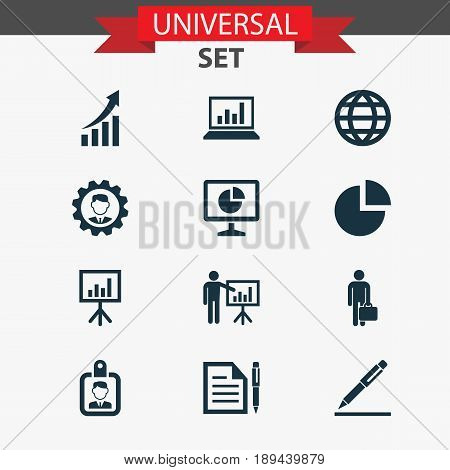 Job Icons Set. Collection Of Earth, Presentation Board, Presenting Man And Other Elements. Also Includes Symbols Such As Presentation, Business, Manager.