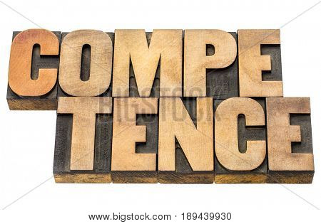 competence - word abstract in letterpress wood type blocks isolated on white
