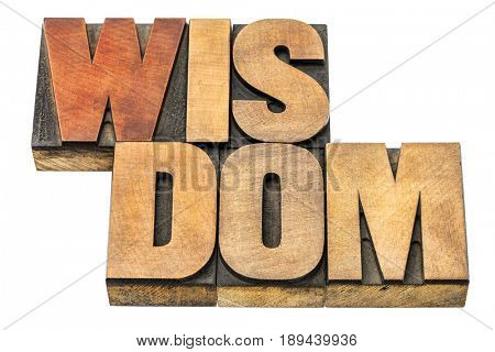 wisdom  - word abstract in letterpress wood type blocks isolated on white