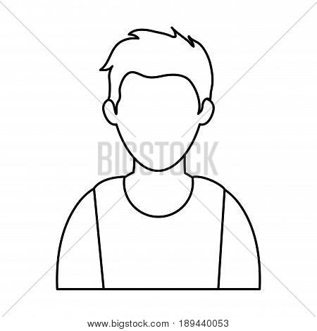 young man  wearing sleeveless top faceless avatar icon image vector illustration design  black line