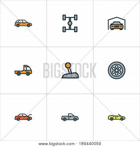 Auto Colorful Outline Icons Set. Collection Of Machine, Auto, Carcass And Other Elements. Also Includes Symbols Such As Automobile, Hood, Carcass.
