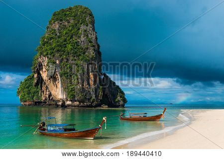 Dark Blue Photograph Of Rain Clouds And Beautiful Mountains, Thailand, Phra Nang Beach