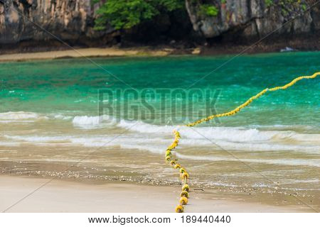 Floating Buoys On A Rope In The Sea For Safety