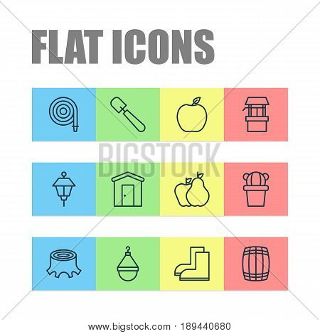 Icons Set. Collection Of Fruits, Desert Plant, Shovel And Other Elements. Also Includes Symbols Such As Stump, Hose, Scale.