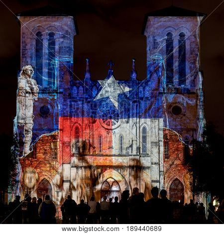 San Antonio United States: January 21 2017: San Fernando Cathedral with Texas Flag Lights