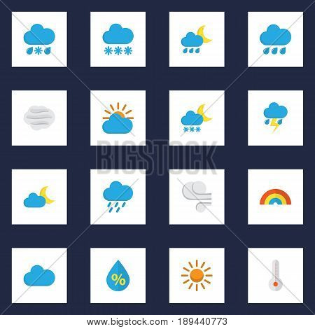 Weather Flat Icons Set. Collection Of Drop, Frosty, Hailstones And Other Elements. Also Includes Symbols Such As Thermometer, Winter, Rainy.