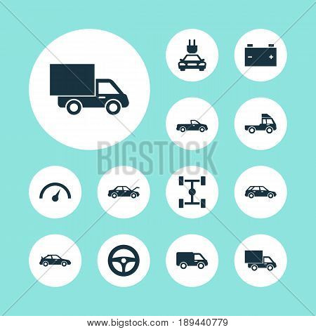 Car Icons Set. Collection Of Wheelbase, Chronometer, Carriage And Other Elements. Also Includes Symbols Such As Truck, Carriage, Wheel.