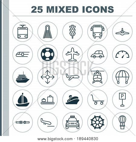 Shipping Icons Set. Collection Of Jet, Railway, Cargo Cart And Other Elements. Also Includes Symbols Such As Cruise, Railroad, Parachute.