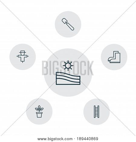 Gardening Icons Set. Collection Of Gardening Shoes, Meadow, Shovel And Other Elements. Also Includes Symbols Such As Trowel, Ladder, Flower.